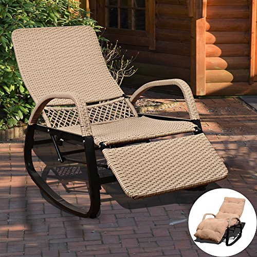 sundale outdoor indoor wicker rattan rocking chair with cushion zero gravity lounge chair. Black Bedroom Furniture Sets. Home Design Ideas