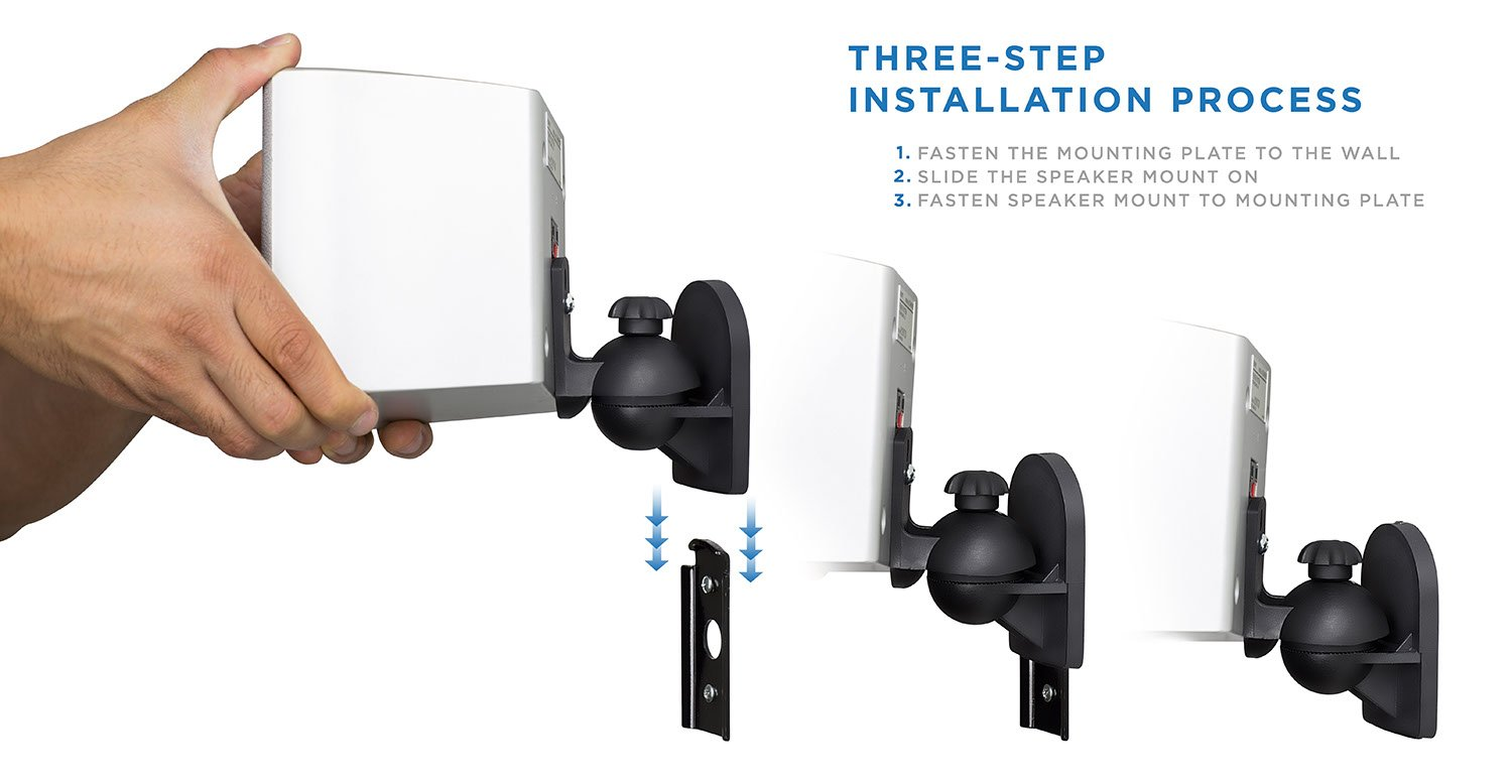 Mount It Speaker Wall Full Motion Brackets For Home Theater 5 Wiring Diagram Also 7 1 Surround Sound Satellite Ceiling And Bookshelf Speakers 4 Mounts Black Audio