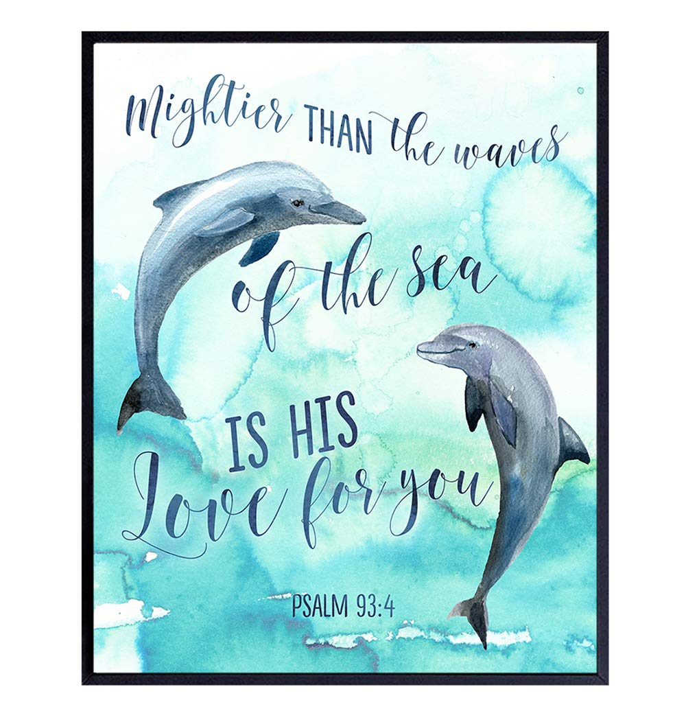 Mightier Than the Waves Dolphins Wall Decor - Religious Bible Verse Wall Art - Christian Scripture Decoration for Bedroom, Bathroom, Living Room, Church - Nautical Beach House Ocean Poster -8x10 Blue