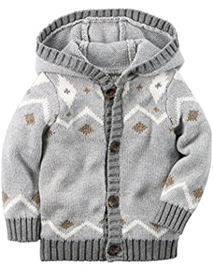 Carters Baby Clothing Outfit Boys Hooded Fair Isle Cardigan Grey