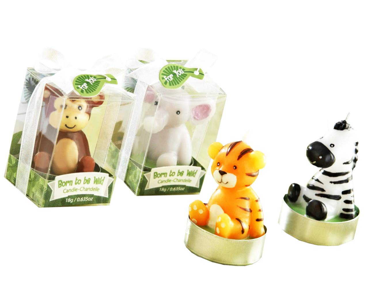 Kate Aspen Baby Shower Animal Candles, Born to be Wild - 6 Sets of 4, Total 24 Pieces
