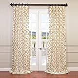 HPD Half Price Drapes EFSCH-14081B-120 Embroidered Faux Silk Curtain 50″ x 120″ Tunisia Ivory