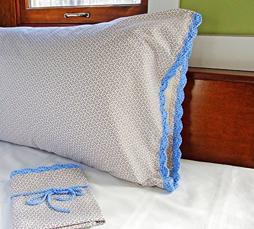Crochet Pillow Case with Crochet Edging in BLUE FLORAL, Blue Pillow Case Standard Size, Floral Pillow Case, One (1) 100% Cotton Pillowcase, Hand Croch…