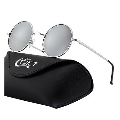 CGID E01 Petites lunettes de soleil polarisées inspirées du style retro vintage Lennon en cercle métallique rond tVDWWAR6q