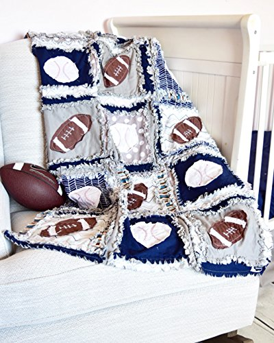 Sports Crib Quilt - Gray / Navy - Football and Baseball Baby Bedding - QUILT ONLY by A Vision to Remember