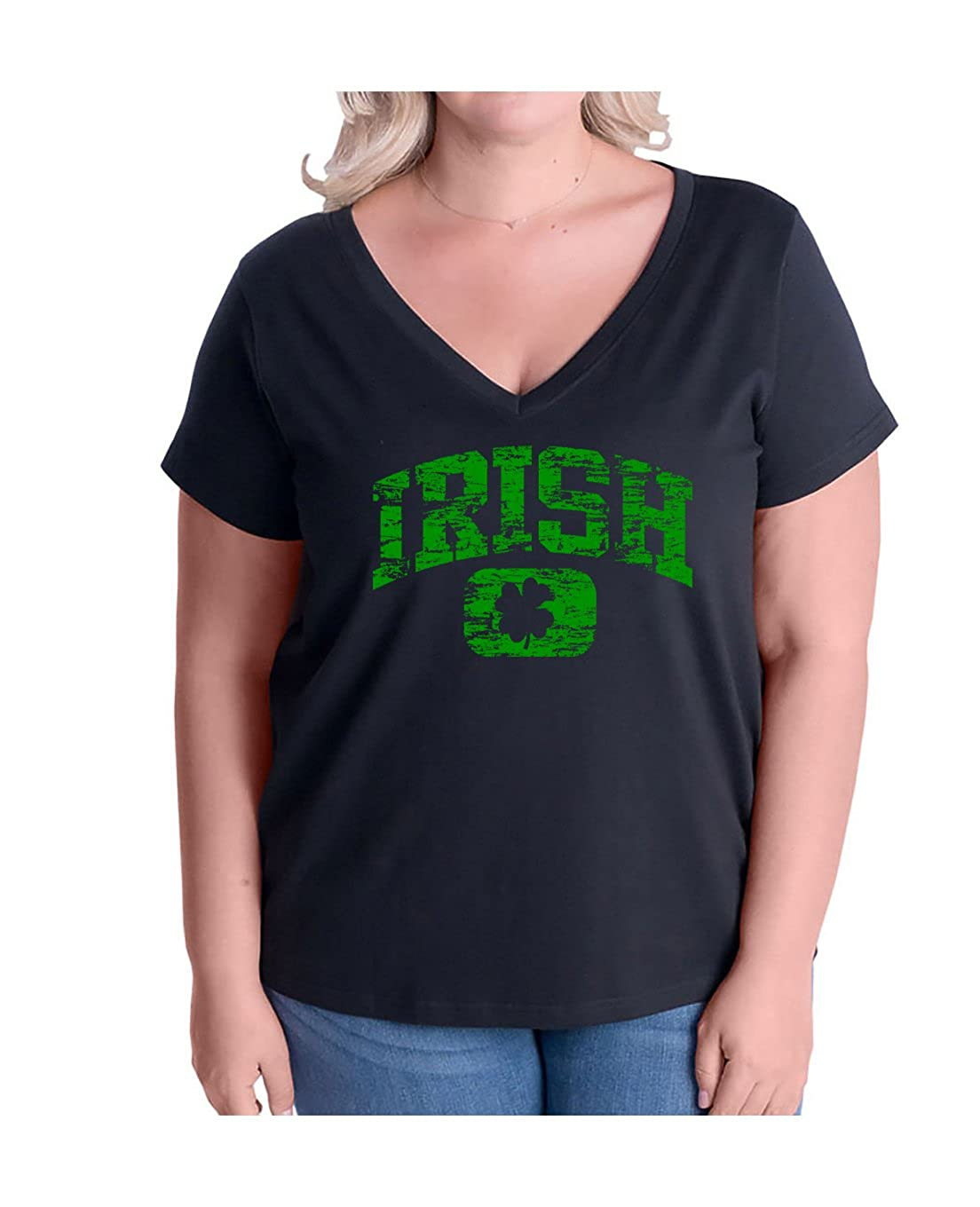 8838acc9b21b9 Amazon.com  Break Neck Tees Women s Plus Size Distressed Vintage Irish ST.  Patricks Day V-Neck T Shirt  Clothing