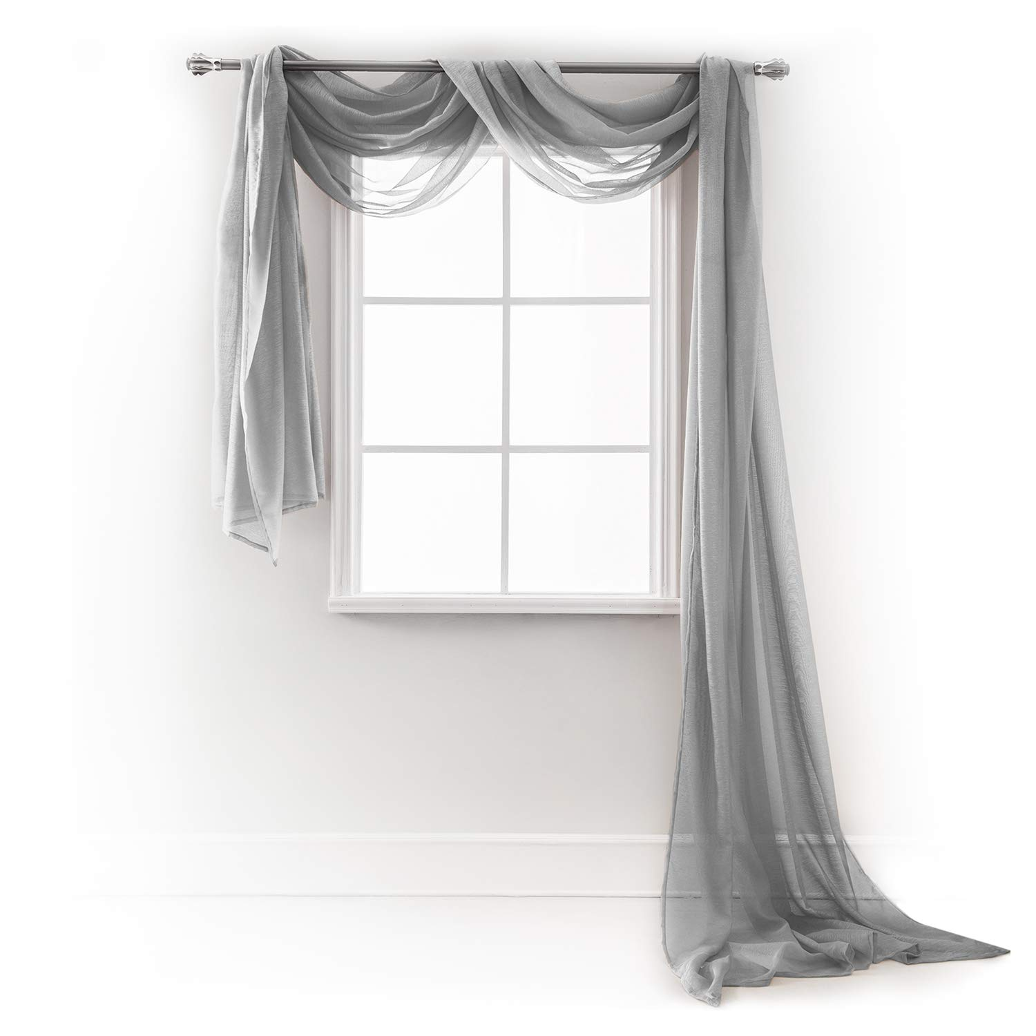 """Semi Sheer Luxury Scarf Window Decor Modern Classic Outdoor Home Design Light Penetrating Provide Privacy Soft Durable Polyester Easy Upk. add to Curtains Drapes (Scarf 54'' x 216"""" Morning Gray)"""