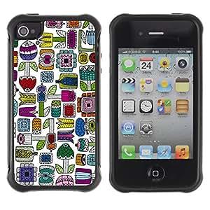 Híbridos estuche rígido plástico de protección con soporte para el Apple iPhone 4 / 4S - hand drawn colorful minimalist