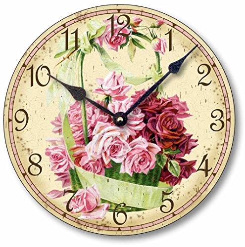 Item C6017 Vintage Victorian Style 10.5 Inch Pink Rose Basket Clock