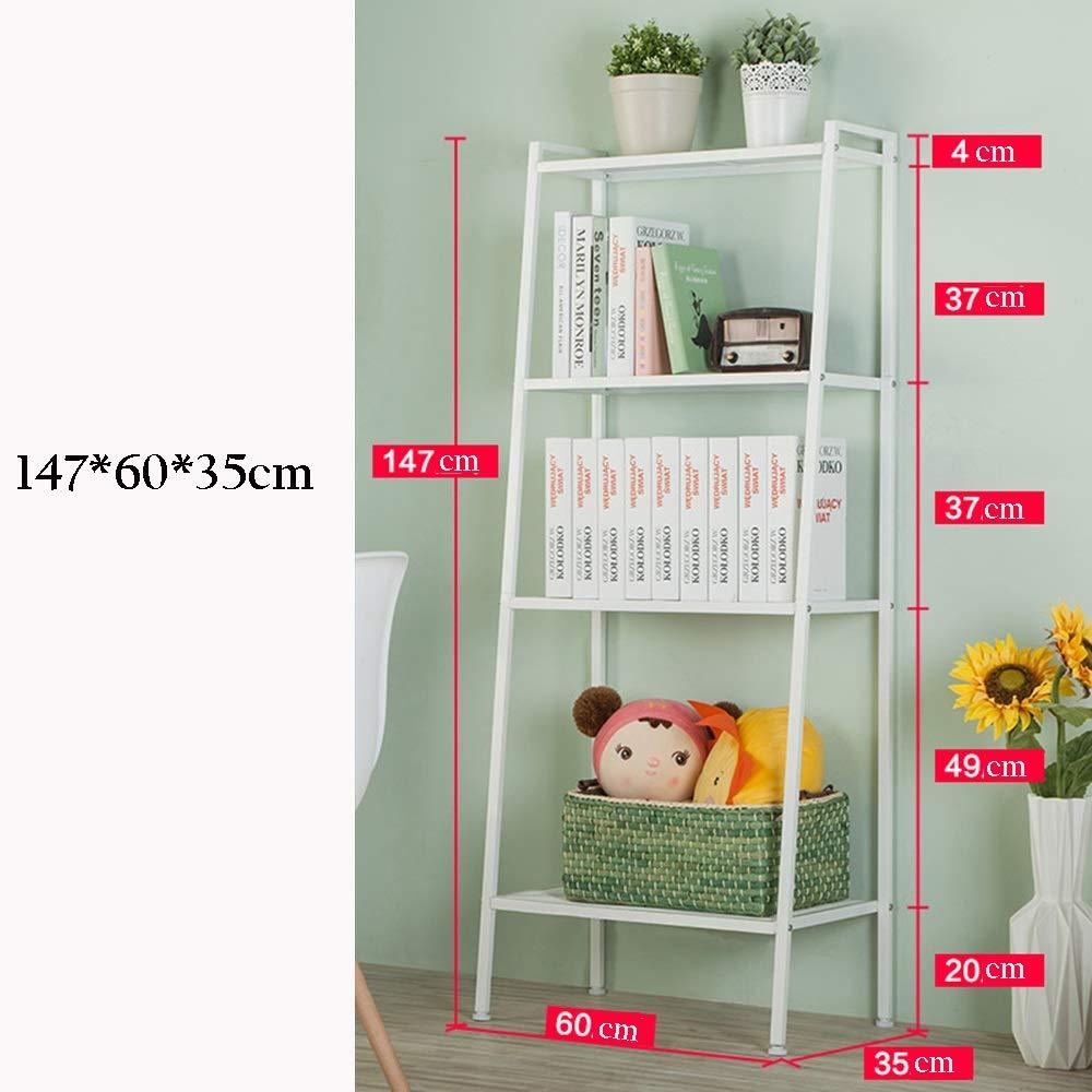 Weiß Lagerregal ZHIRONG 4-Tier-Speicher-Regal-Bücherregal-Anzeige-Leiter-Regal-Wand-Organisator-Gestell 60  35  147CM (Farbe   Weiß)