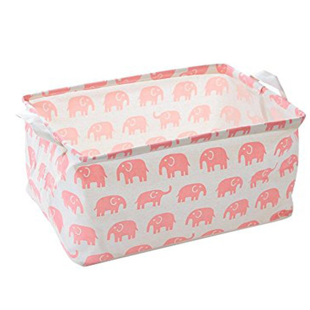 Pink Elephant Toy Storage Bins Canvas Collapsible Storage Basket with Handles Toy Organizer for Nursery, Kid's Toys, Closet & Laundry, Gift Basket Kid's Toys Hinsper