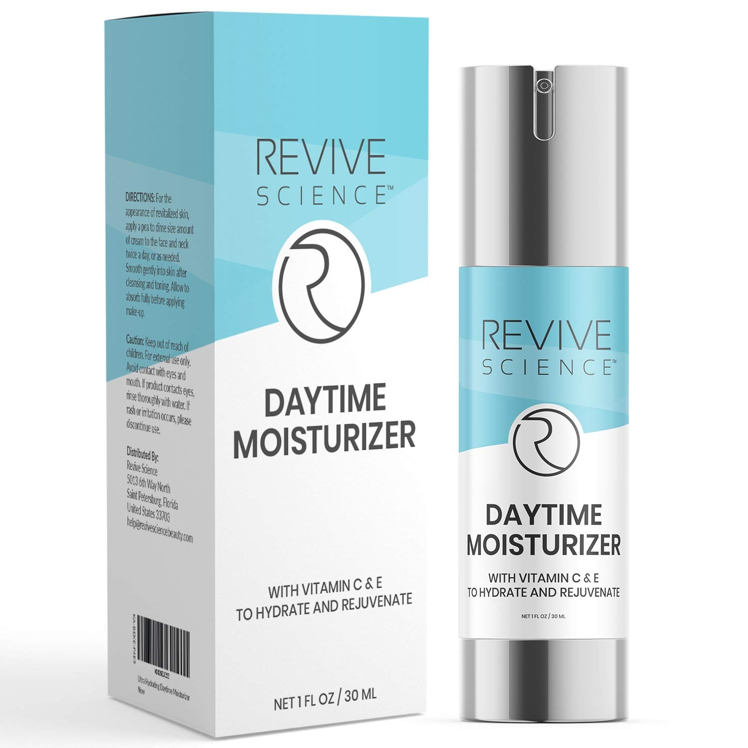 Revive Science Ultra Hydrating Daytime Face Moisturizer Cream - Anti Aging Face Lotion with Vitamin C & E - Face Moisturizer for Women and Men - Fragrance Free, All skin types (1 fl oz): Beauty