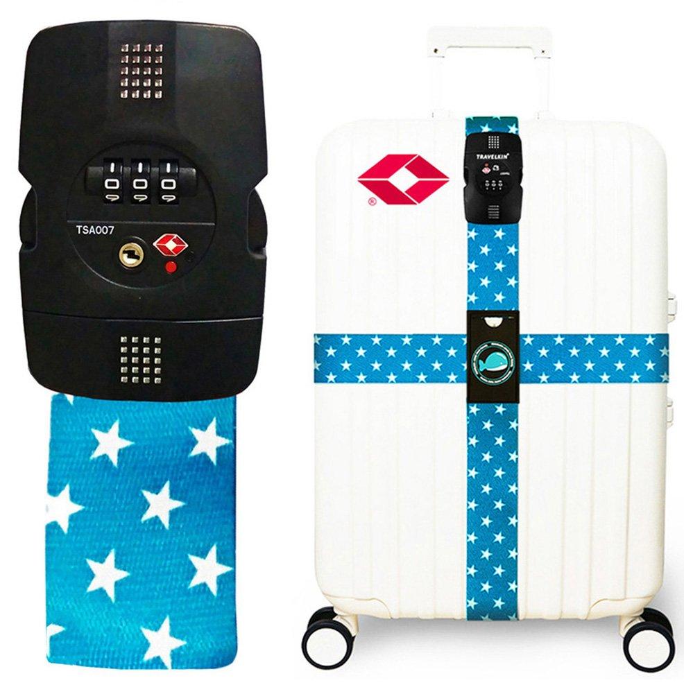 Luggage Strap Travel Straps TSA Combination Lock Suitcase Belt Baggage Belts 2 Pack