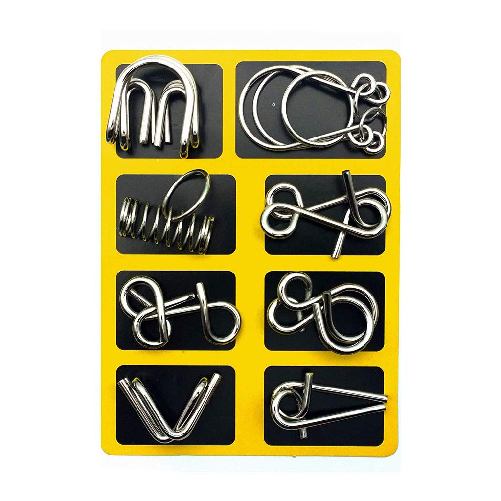 IQ Test Mind Game Toys Brain Teaser Iron Link Unlock Interlock Game Set of 16 Transer- Metal Wire Puzzle Set Silver Great Trick Toy for Party Favor Kids Adults Challenge