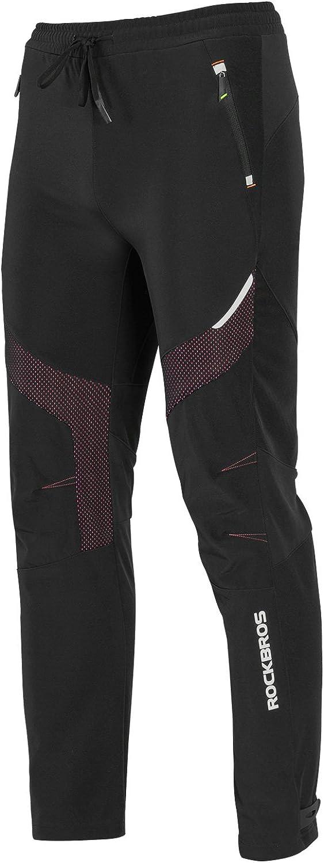 ROCKBROS Winter Cycling Pants Warm Ergonomics Men's Windproof Thermal Bicycling Pants Black: Clothing