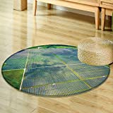 Small round rug Carpet aerial view over solar panel farm outside of austin texas in webberville a mega door mat indoors Bathroom Mats  Non Slip -Round 24''