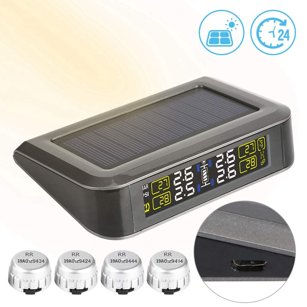 TPMS Solar Wireless Car Reifendruckkontrollsystem LCD-Anzeige mit 4 externen Sensoren Druck/überwachung