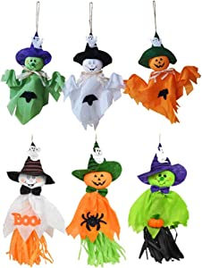 6 Pieces Halloween Decoration Hanging Ghost, Pumpkin Ghost Straw Windsock Pendant for Patio Lawn Garden Party and Holiday Decorations