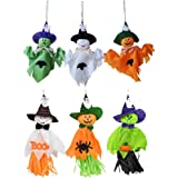 6 Pieces Halloween Decoration Hanging Ghost, Pumpkin Ghost Straw Windsock Pendant for Patio Lawn Garden Party and…
