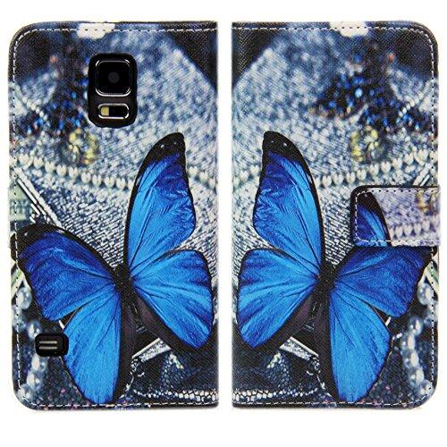 Handy Lux® Schutz Hülle für Apple iPhone 5 / 5S Tasche Kartenfächer Flip Case Etui Cover Involto Motiv Design Hülle BookStyle Schmetterling BB