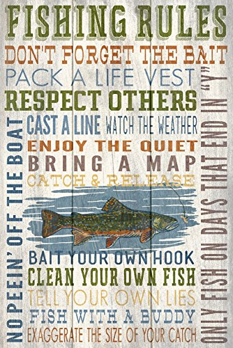 Fishing Rules - Rustic Typography (9x12 Art Print, Wall Decor Travel Poster)