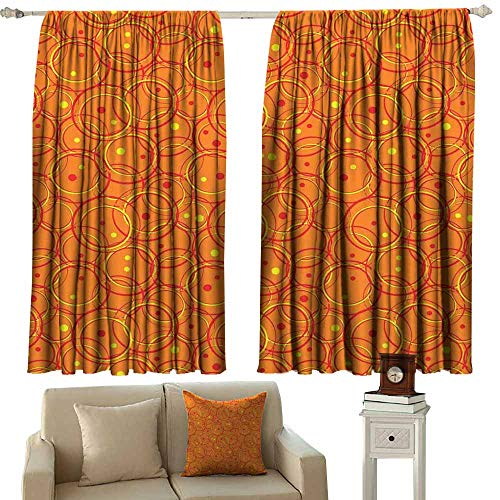 Bedroom Curtains 2 Panel Burnt Orange Circle Patterns in Fashion Trend Colors on Retro Dotted Background Decorative Orange Yellow Light Blocking Drapes with Liner W72 xL72 ()