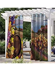 Adorise Outdoor Door Curtain Still Life of Wine with Wooden Keg Rustic Concept Tasting Viticulture Waterproof Indoor/Outdoor Curtains Works Well with Your Patio Brown Green Pale Brown