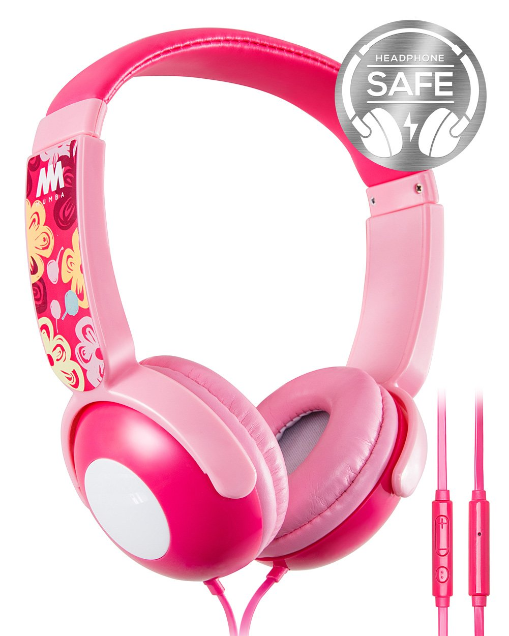 Kids Headphones, Mumba Volume Limited Over Ear Headphones, 85 Safe Listening Adjustable Headsets with Microphone for Kids Children (Pink) by Mumba