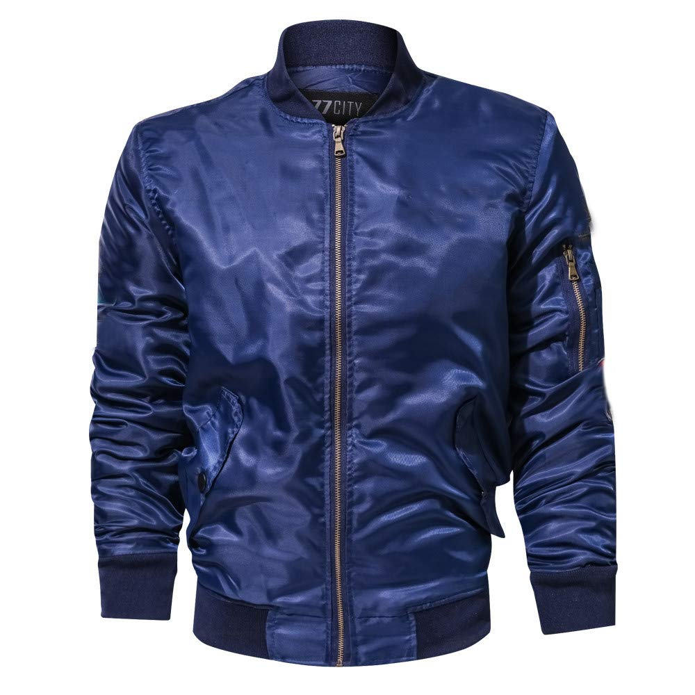 Pure Color Military Clothing Zipper Coat Autumn Winter Stand Collar Slim Fit Warm Tops OSTELY Mens Jacket