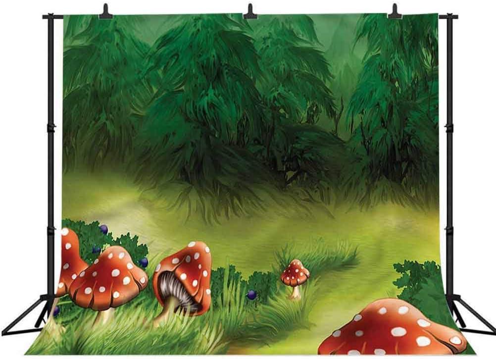 8x8FT Vinyl Wall Photography Backdrop,Mushroom,Wild Magic Wonderland Background for Baby Birthday Party Wedding Studio Props Photography