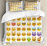 Emoji King Size Duvet Ambesonne Emoji Duvet Cover Set King Size, Many Emoticons with Various Expressions Alien Vomiting Beaten up in Love Vampire, Decorative 3 Piece Bedding Set with 2 Pillow Shams, Multicolor