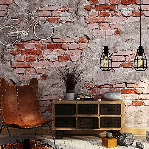 Blooming Wall 8066M Faux Vintage 3D Stone Texture Wallpaper,Wall Mural Wall Paper,57 Sq Ft/Roll (Red blocky Brick)
