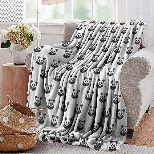 PearlRolan Ultra Soft Flannel Blanket,Tattoo,Stylized Panda Bear Portraits Cute Mascots Pattern for Children in Black and White,Black White,Lightweight Microfiber,All Season for Couch or Bed 35