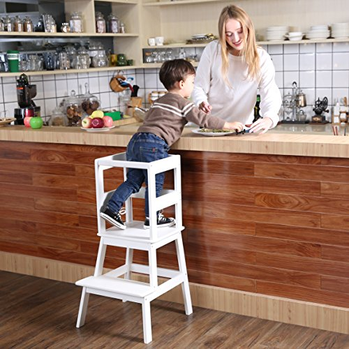Learning Tower Step Stool (SDADI Kids Kitchen Helper Kitchen Step Stool with Safety Rail - for toddlers 18 months and older,White)