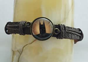 Wristband bracelet braided leather glow light in dark bat man pendant party Halloween for men and women adjustable all size unisex