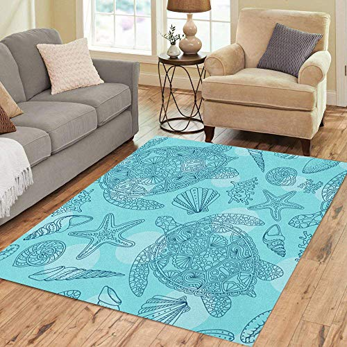 Semtomn Area Rug 2' X 3' Seashells Sea Stars Corals and Bubbles Marine Starfishes Shells Home Decor Collection Floor Rugs Carpet for Living Room Bedroom Dining Room