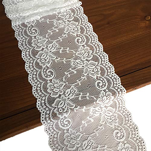 LaceRealm 7 Inch Wide Floral Stretchy Lace Elastic Trim Fabric for Garment & DIY Craft Supply- 5 Yard (7018white) (Lace Floral Trim)