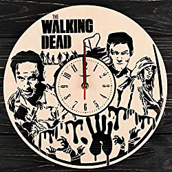 7Arts Wooden Clock The Walking Dead – Decorative Wall Clock Made from Eco Wood with Silent Quartz Movement and Autonomous Power Source - Can be Painted, Great Gift Idea