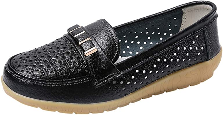 Nurse Work Wedge Leather Loafers Large