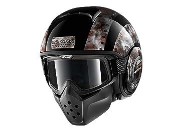 Shark casco de moto Drak Dogtag Kuk, Negro/Marrón, talla XS