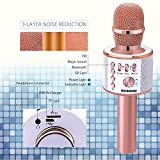 BONAOK Magic Sound & FM Wireless Bluetooth Karaoke Microphone 5-in-1 Portable Speaker Machine for Android/iPhone/iPad/Sony/PC or All Smartphone(Rose Gold)