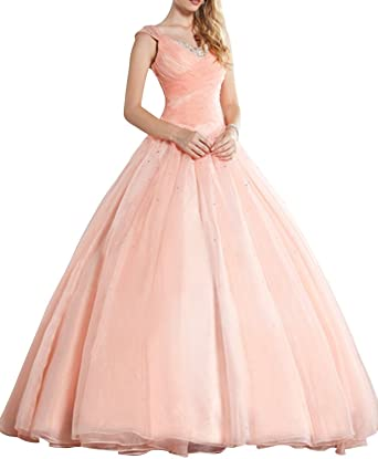 Junguan Womens Vestidos 15 Beading Ball Gown Sweet 16 Quinceanera Dress 2 Pink