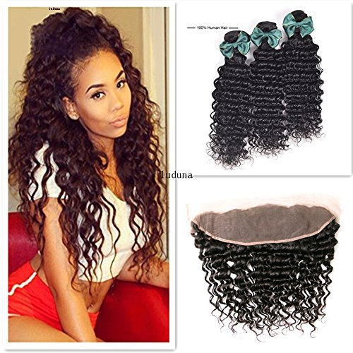 Brazilian Deep Wave virgin hair 3 Bundles With 13x4 Free Part Lace Frontal 7a 100% Brazilian Unprocessed Human Hair Weave Natural Color (20 22 24 +18, Natural Color)