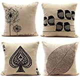 4 Stylies Retro Linen Pillow Case Square Throw Pillowcase Home Office Decor Sofa Back Cushion Cover-