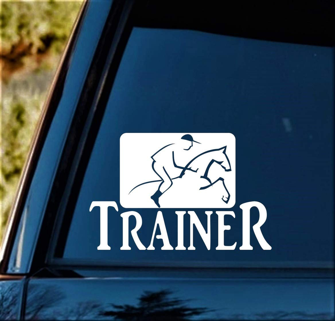 Horse Trainer Riding Decal Sticker for Car Window 7 Inch BG 314