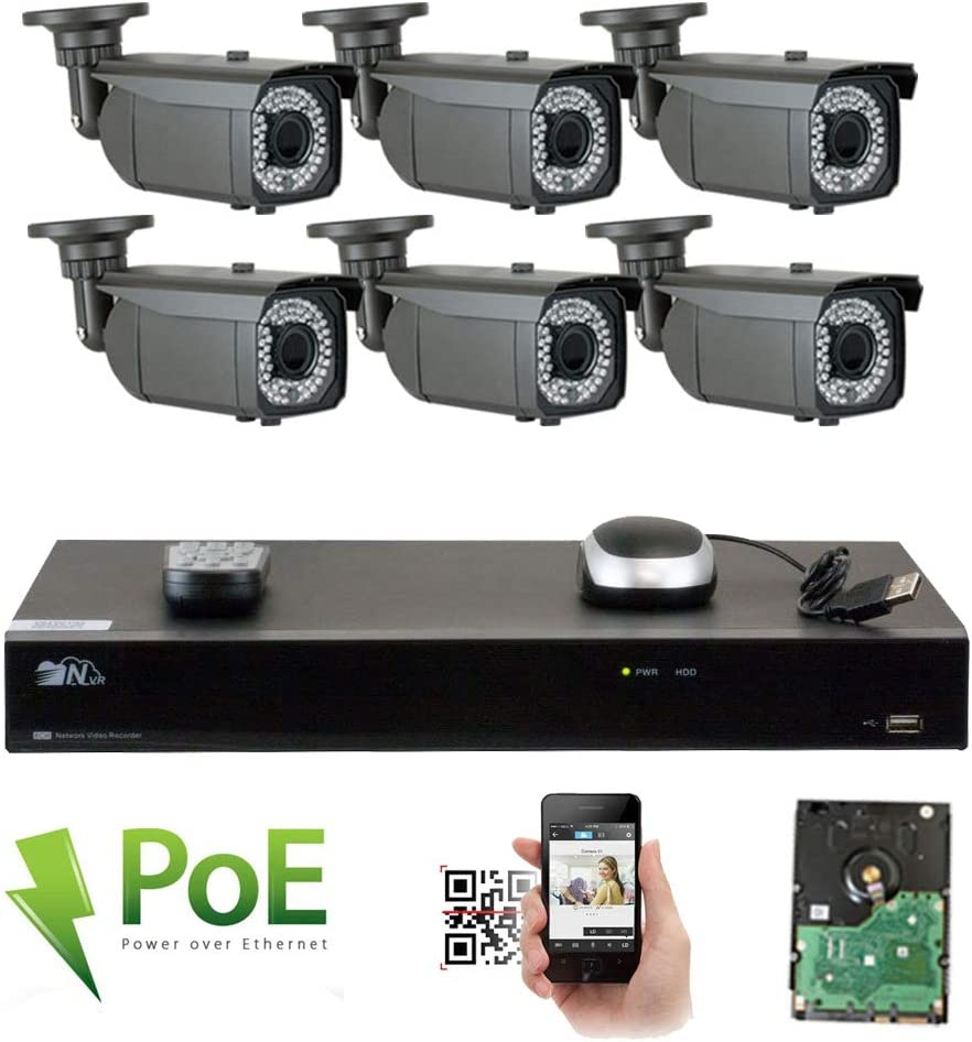 GW 8 Channel 1920P NVR Video Security Camera System – Six 5MP 1920P Weatherproof 2.8-12mm Varifocal Bullet Cameras, 180ft IR Night Vision, Realtime Recording 1080p 30fps, Pre-Installed 2TB HDD