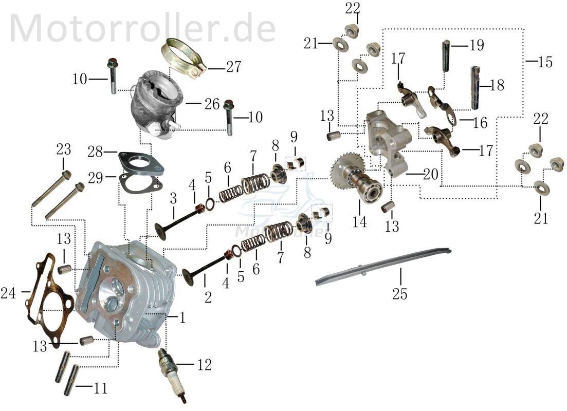 Xfight-Parts Dichtung Zylinderkopf 4Takt 125ccm 152QMI GY6 12251-120-000 f/ür Rex Torino 125