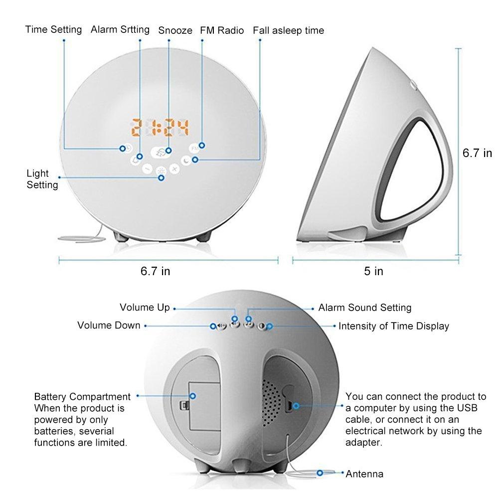 Amazon.com: Wake Up Light Alarm Clock - Digital Led Sunrise Simulator Alarm Clock Radio FM RGB White Adjustable Color Changing Touch Display Circular Modern ...