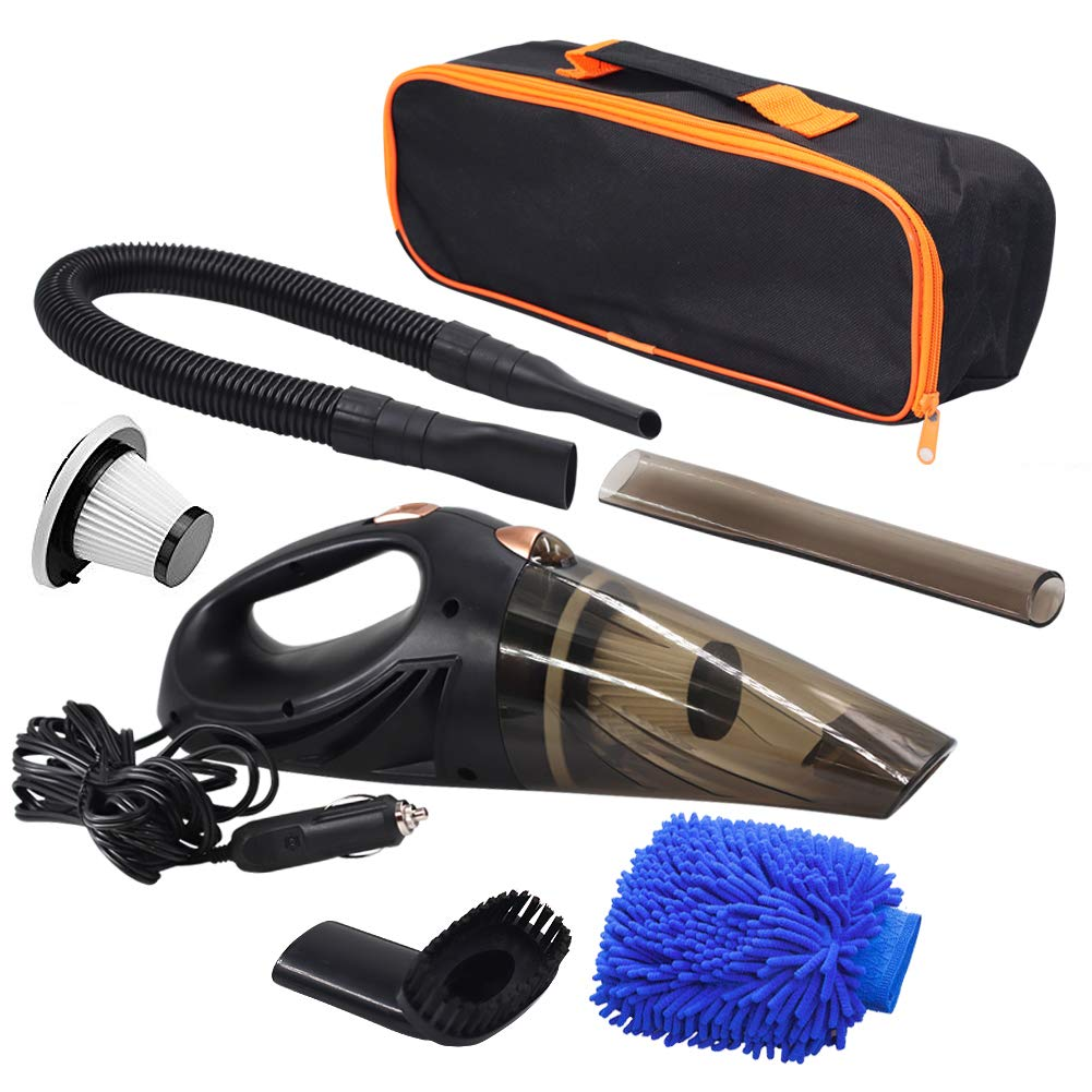 GPISEN Car Vacuum Cleaner DC 12-Volt 106W 4500PA Suction Wet&Dry Handheld Auto Vacuum Cleaner, 2 HEPA Filters, One Carry Bag (Black)Upgraded Version
