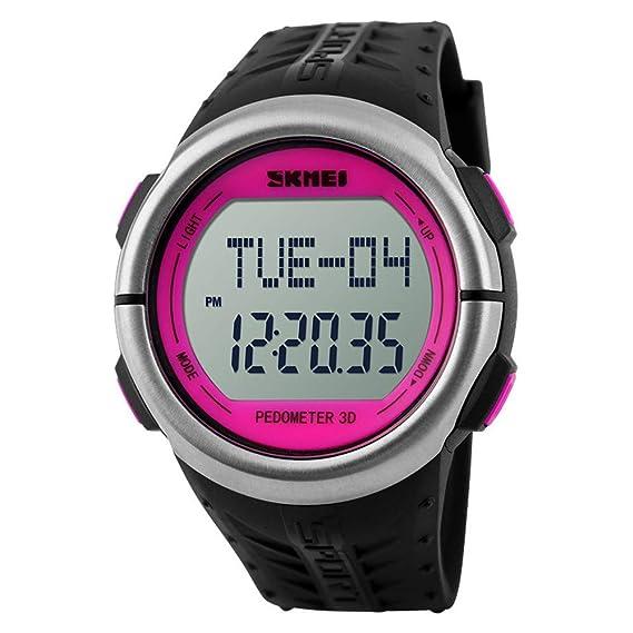 Reloj Digital LED para Hombres y Mujeres, Moda, Deporte, podómetro, Contador de calorías, Relojes de Pulsera, Esfera roja: Amazon.es: Relojes